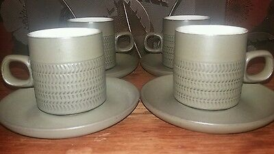 Olive Denby Chevron Tea/Coffee Cups & Saucers