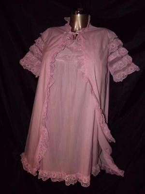 Vintage Used Lux Lux Pink Double Sheer Peignoir Robe Set Nylon Size Wms