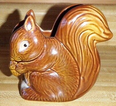 Vintage Rustic Country Brown Squirrel with Acorn Napkin Holder Glazed Pottery