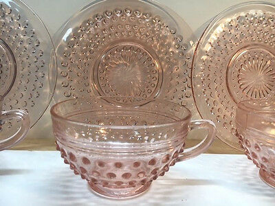 Vintage Hocking Glass Pink Hobnail Cups And Saucers