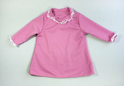 vtg 60s Mauve Scooter Tunic Dress Shirt Top White Lace Accent Long Sleeve 5/6