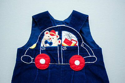 vtg 80s Navy Blue Corduroy Overalls Pants Teddy Bear Car Embroidered 3-6 Months