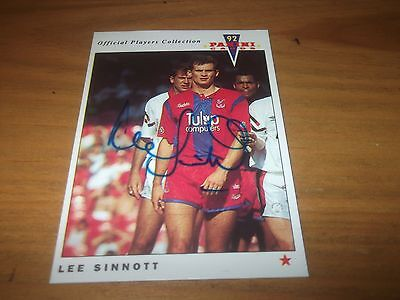 Panini 92  Lee Sinnott  Crystal Palace   Signed Card