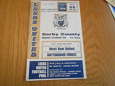 Leeds United V Derby County  League Cup Semi Final  7/2/1968