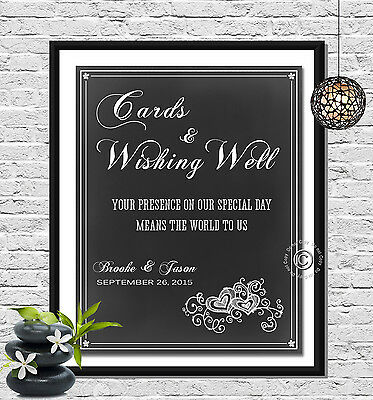 Wishing Well Wedding Sign, Personalized with Names and Date - You Print!!!