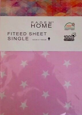 100 Single Fitted Kids Sheet Cotton Pink Luxury Elasticated Corner