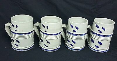 Williamsburg VA Pottery Set Of Four Stoneware Mugs Gray Cobalt Leaf Pattern
