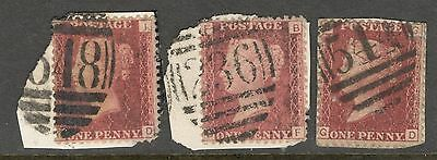 3 x Queen Victoria - 1d Red - Plates 192, 156 & 171 on Paper