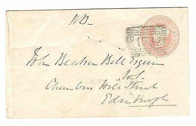 Queen Victoria - 1d Pink - Embossed Postal Stationery Cover - Haddington 1859