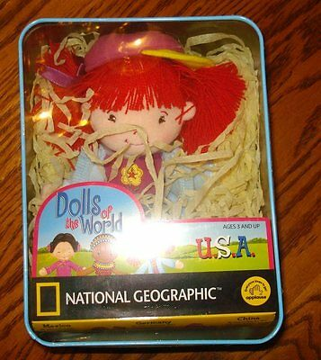 New Applause National Geographic Dolls Of The World Usa Lisa Beanie Doll In Tin