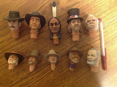 10 Carved Wine Bottle Stoppers Toppers Cowboy, Indian, Mark Twain