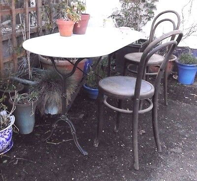 Antique French cast iron and Marble table. Hall, dining, conservatory or garden