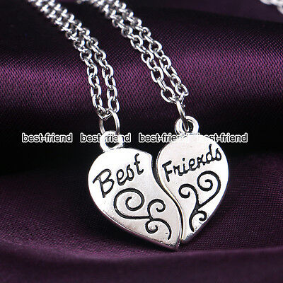 "Fashion Heart Double ""BEST FRIEND"" Friendship Silver Necklace Pendant Chain BFF"