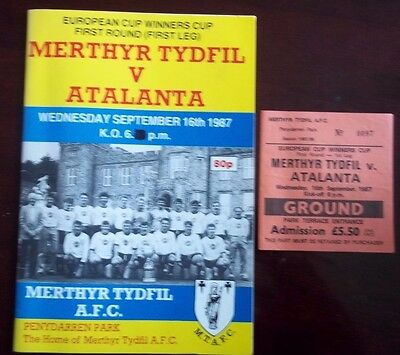 MERTHYR TYDFIL v ATALANTA EURO CUP WINNERS CUP 1st ROUND PROGRAMME 16th SEP 1987