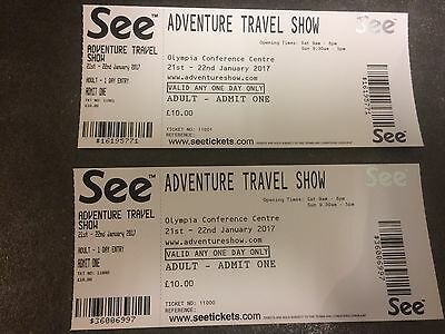 2 tickets for Adventure Travel Show 21st -22nd January  2017 Olympia Conf centre