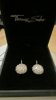 Thomas Sabo Sterling Silver Large White Pave Zirconia Disco Ball Drop Earrings