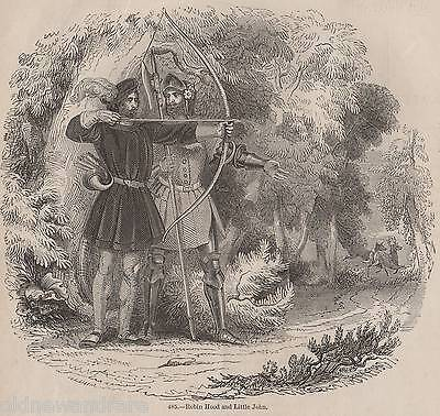 Genuine 1845 Print Robin Hood Archery Bow Arrow Quiver Sherwood Forest