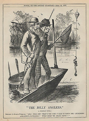 Genuine 1876 Print Fly Fishing Angling Fish Rod Tackle River Basket Trout Salmon