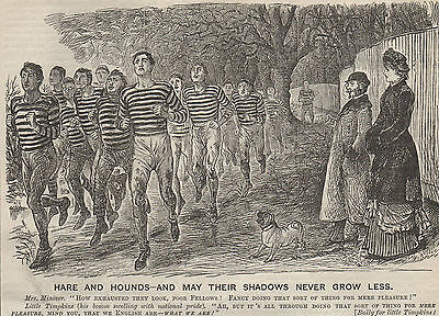 Genuine 1881 Print Cross Country Running Hare Hounds Athletics Olympics Race 1