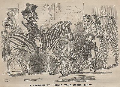 Genuine 1858 Print Punch And Judy Show Theatre Puppet Zebra Horse Riding Zoo