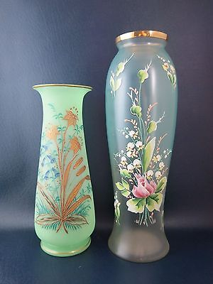 Pair Beauitful Antique Victorian Opalescent Enameled Floral Decorated Vases