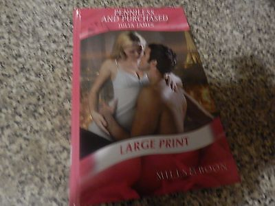 Penniless And Purchased By Julia Lames Large Print Hb Mills And Boon Romance