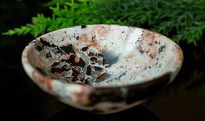 Fancy Agate Handcarved 66 Mm Pure Crystal Bowl