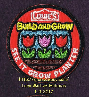 LMH PATCH Badge  2015 SEE IT GROW PLANTER Tulip LOWES Build Grow Tullips Flowers