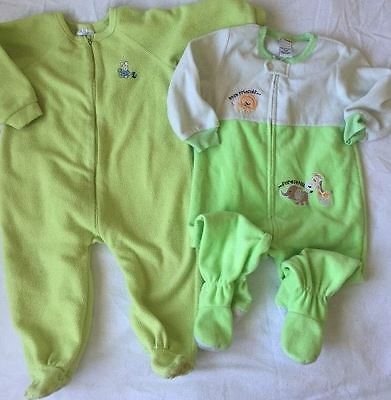 *Lot of 2* Baby Boys Green Fleece Blanket Footed Sleepers Pajamas Size 18 Months