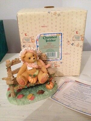 Cherished Teddies Cathy - Bear With Pumpkin - Bnib 1997