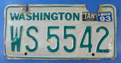 1993 Washington Travel Trailer License Plate Ws5542                       Ul3857