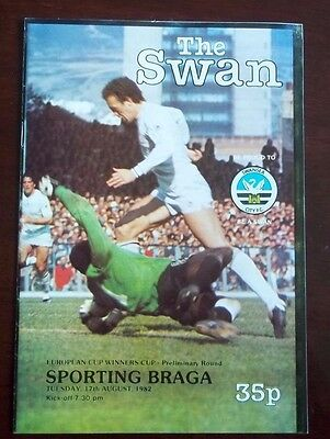 SWANSEA CITY v SPORTING BRAGA EUROPEAN CUP WINNERS CUP PROGRAMME 17th AUG 1982