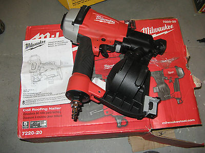 "Milwaukee 1-3/4"" Pneumatic Coil Roofing Nailer 7220-20 New"
