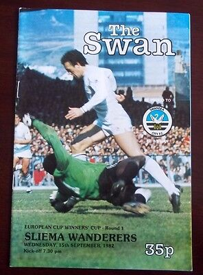 SWANSEA CITY v SLIEMA WANDERERS CUP WINNERS CUP ROUND 1 PROGRAMME 15th SEP 1982