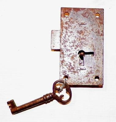 Antique Cupboard Lock Latch Iron with Key Works Hardware #1