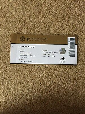 Manchester United V Liverpool Used Ticket 15/01/17