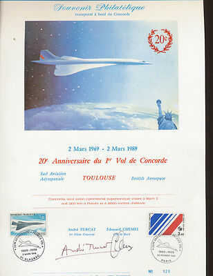 CONCORDE 2oth Anniversary - March 2, 1989 - Philatelic Souvenir - CAPT SIGNED x2