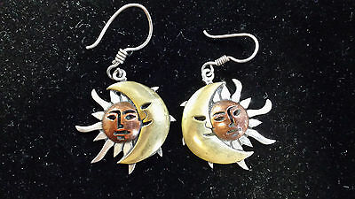 Vintage Sterling Silver Celestial Earring And Ring Set.