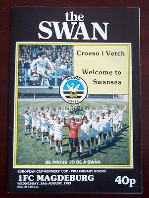 SWANSEA CITY v 1FC MAGDEBURG EUROPEAN CUP WINNERS CUP PROGRAMME 24th AUGUST 1983