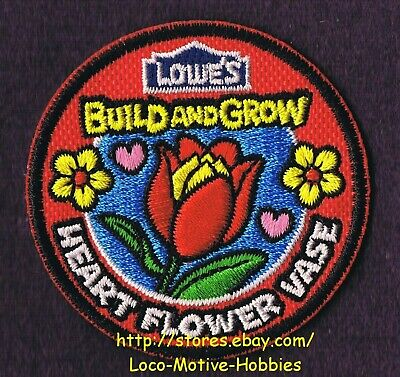 LMH PATCH Badge  2011 HEART FLOWER VASE Holder LOWES Build Grow Tulip Flowers