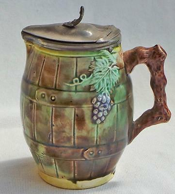 Antique Majolica small lidded syrup pitcher, height 4 inches