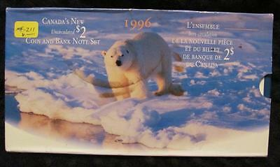 1996  Canada Uncirculated $2 Coin & Banknote Set. No Defects. In BOI.   #MF-Z11