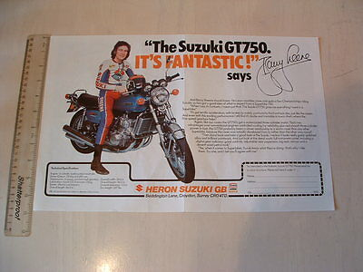 Suzuki Gt750 Kettle & Barry Sheene Poster From Nos 1976 Original