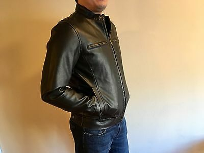 New Brown Black Rivet leather jacket Men's Size Small