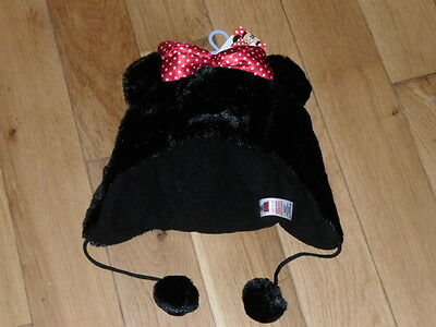 Bnwt Minnie Mouse Hat, Warm Black Faux Fur With Red Bow And Bobbles, Age 11-13