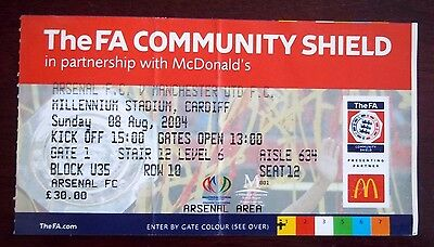 ARSENAL v MANCHESTER UNITED FA COMMUNITY SHIELD TICKET 8th AUGUST 2004 CARDIFF