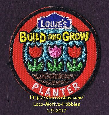 LMH PATCH Badge  TULIP PLANTER Flower LOWES Build Grow Flowers Tulips red