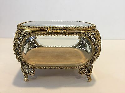 Antique Vitrine Beveled Glass w/24kt Gold Plate Jewelry Casket Trinket Box