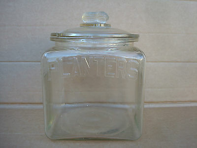 Vintage Planters Peanuts Glass Jar Canister Display With Cracked Lid