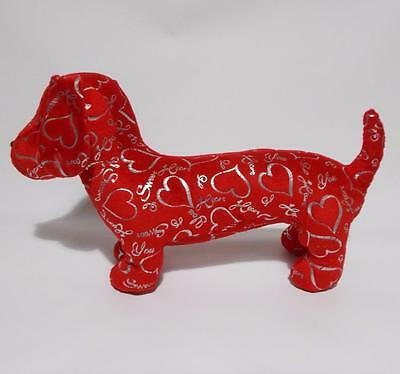 """Red Dachshund Dog Plush Silver Hearts Sweetheart I Love You Valentines Day 17"""""""